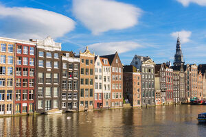 Amsterdam, Holland, Houses on the Damrak