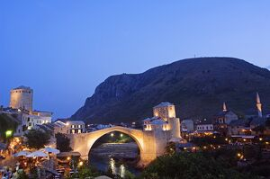 The Balkans Bosnia Mostar Stari Most Peace Bridge on