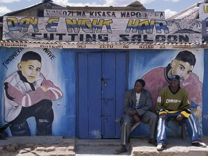 A barber's shop in a small trading centre near Iringa in Southern Tanzania.