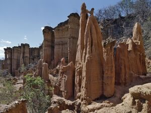 Beautiful earth and stone pillars fashioned by centuries of weathering