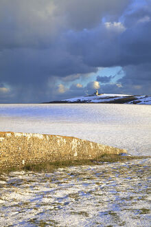 The Belle Tout Lighthouse Surrounded By Snow, Beachy Head, South Downs, East Sussex