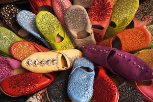 Brightly coloured moroccan slippers