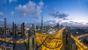 The Burj Khalifa Dubai, elevated view across Sheikh Zayed Road and Financial Centre
