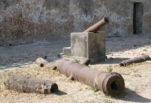 A collection of rusted cannons