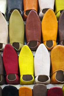 Every colour of slipper is on sale in the souk in Marrakech, Morocco