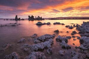 serene landscapes/colourful sunrise mono lake california usa autumn