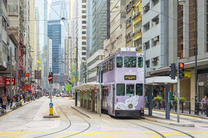 new july 2019/doube decker tram des voeux road central hong kong