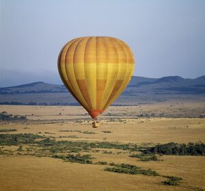 An early morning hot air balloon flight over Masai Mara
