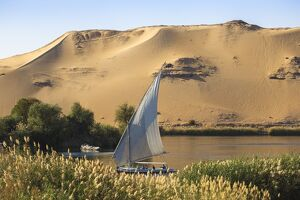 Egypt, Upper Egypt, Aswan, Elephantine Island, View of river Nile and Tombs of the