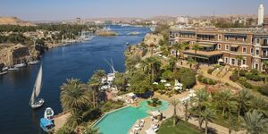 Egypt, Upper Egypt, Aswan, Sofitel Legend Old Cataract hotel and swimming pool
