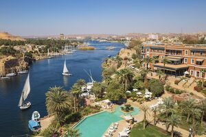 Egypt, Upper Egypt, Aswan, View of Sofitel Legend Old Cataract hotel and swimming