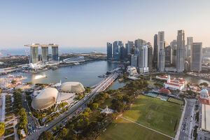 Elevated view of business district and Marina bay Sands at sunset, Singapore