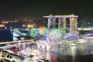 Elevated view of Marina Bay Sands at night during Chinese New Year celebrations