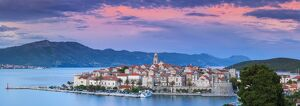 mediterranean/elevated view picturesque korcula town illuminated