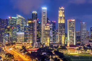 Financial district skyline by night, Singapore