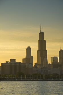 Illinois, Chicago, Lake Michigan and Skyline including Sears Tower
