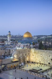 Israel, Jerusalem, Old City, Temple Mount, Dome of the Rock and The Western Wall