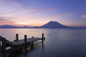 Jetty, Lake Atitlan and Volcano San Pedro