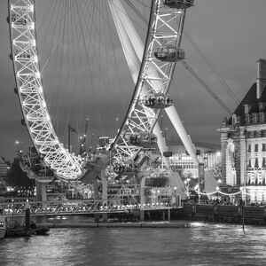 London Eye (Millennium Wheel) and former County Hall, South Bank, London, England