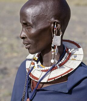 A Maasai woman in traditional attire.