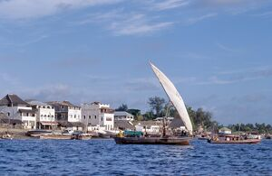 A mashua sails out of the sheltered, natural harbour of Lamu Island