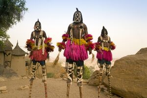 Masked Ceremonial Dogon Dancers, Sangha, Dogon Country, Mali
