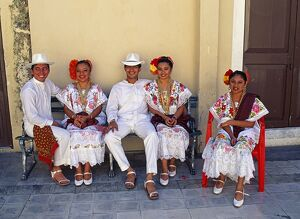 Members of a Folklore Dance group waiting to perform