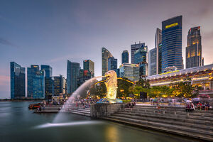 The Merlion statue with city skyline in the background, Marina Bay, Singapore