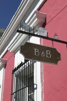 Mexico, Sinaloa State, Mazatlan, Old Mazatlan, Bed & Breakfast sign
