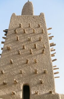 Detail of Minaret of Sankore mosque in C16th part of