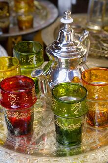 Moroccan silver teapot & glasses, The Souq, Marrakech, Morocco
