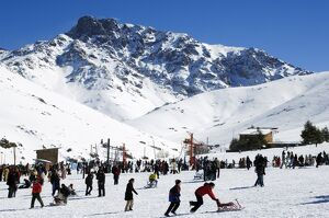 Morocco High Atlas Oukaimeden Ski Resort Skiers on Piste