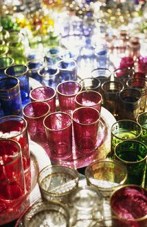 MOROCCO, Marrakesh Colourful Moroccan glassware in the souqs of Marrakesh