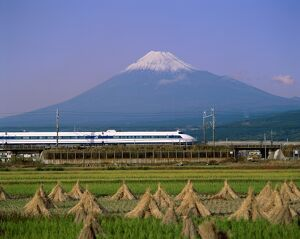 Mount Fuji / Bullet Train & Rice Fields, Fuji, Honshu, Japan