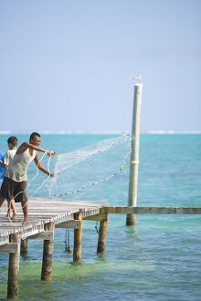 Net fishing, Caye Caulker, Belize