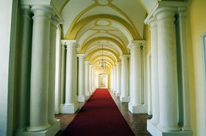 Ornate interior corridor of the baroque style Rundales Palace