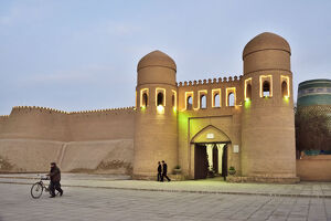 Ota Darvoza, the western gate to the old town of Khiva. A UNESCO World Heritage Site