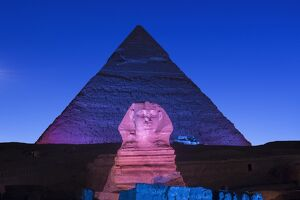Pyramid of Khafre (Chephren) and the Sphinx at night, Giza, Cairo, Egypt