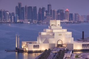 Qatar, Doha, The Museum of Islamic Art, designed by I.M. Pei, elevated view, dawn
