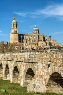 Roman bridge with the Cathedral in the background, Salamanca, Castile and Leon, Spain