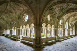 new july 2019/romanesque cloisters abbaye fontfroide aude department