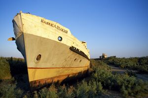 The rusting hulls of old Russian ships lie abandoned