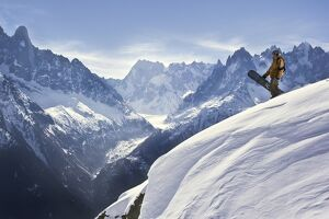 Skiers on the Argentiere Glacier, Chamonix, France (MR)