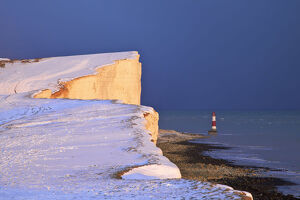 Snow Covered Beachy Head And Lighthouse, Eastbourne Downland Estate, Eastbourne