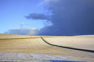 Snow Covered South Downs Farm Land, East Dean, East Sussex, United Kingdom