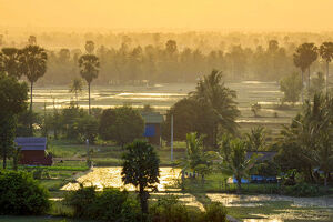 Southeast Asia, Cambodia, Kampot, rural scene with rice paddies and small farms