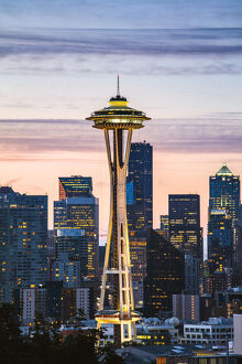 The Space Needle and skyline at dawn, Seattle, Washington, USA