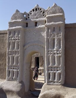 Traditional Nubian architecture at a gate in the village