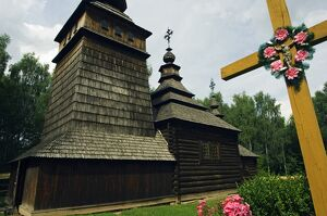 Traditional Wooden Church and Crucifix