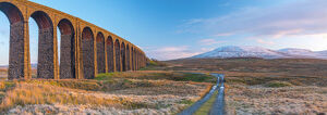 UK, England, North Yorkshire, Ribblehead Viaduct and Ingleborough mountain, one of